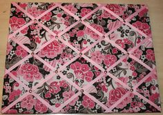 Pink Sparkle Flowers Memory Board 15 1/2 x 20 by RibbonsofMemories