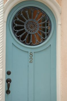Charleston front door - Love the Haint Blue Color! Cool Doors, Unique Doors, Exterior Doors, Entry Doors, Haint Blue, When One Door Closes, Front Door Colors, Blue Front Doors, Front Door Decor