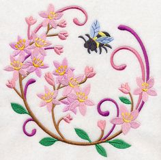 Let It Bee Flower Wreath Product ID:M3432 M3433 M3434 M3333 M3334 5 sizes Color Changes:12 Stitches:39581Colors Used:12