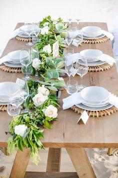 Natural beach wedding reception table styling   Orange Sunshine Photography   See more: http://theweddingplaybook.com/dreamy-beach-wedding-inspiration/