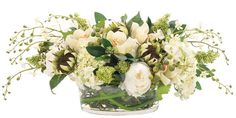 Silk Flower Arrangement - When you have to go with silk, you cannot beat Natural Decorations, Inc. Pricey though retail around a grand. Peony Sunflower Orchid Green White, Glass Low Bowl