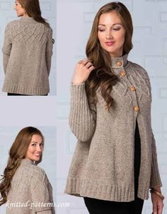 Lady's beautiful top down cardigan #Free#Knitting #pattern link here