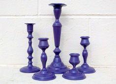Vintage purple Candle Stick Holders //  home decor, plum, wedding decor, candlesticks, upcycled. $26.00, via Etsy.