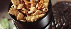 Mmm!  Enjoy a honey of a crunchy snack mix that goes together in a snap.