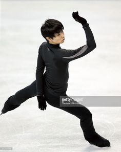 Yuzuru Hanyu of Japan in action during a practice session during day one of the ISU World Figure Skating Championships at the TD Garden on March 28, 2016 in Boston, Massachusetts.