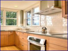 kitchen tile backsplash ideas with maple cabinets - Google Search