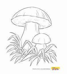 Grzybek kolorowanka, grzybobranie, leśny grzyb, malowanki dla dzieci do drukowania