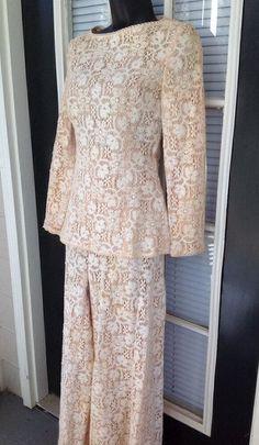 Vintage Gene Roye Pallazzo Pant Suit Crocheted Beige XSmall Xs Formal #vintagegeneroye #PantSuit