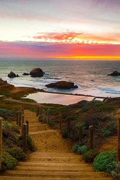 cliff house, sutra baths  part of Golden Gate National park  Path to the Baths - By Rob Ray