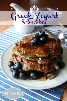 This protein packed breakfast is SO easy, filling and best of all, YUMMY!  Greek Yogurt Pancakes