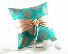 Teal and gold silk ring pillow, bling weddings, extravagant wedding