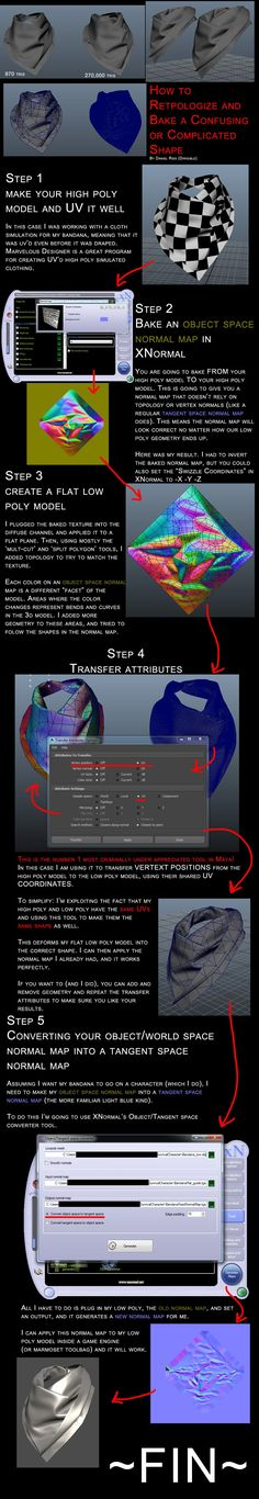 How to retopologize and bake a confusing or complicated shape (guide) - Polycount Forum