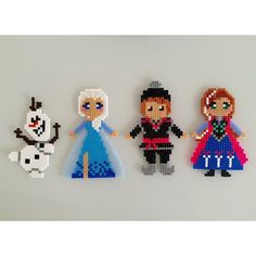 Frozen characters perler beads by Sarah Abbondio Hama Disney, Perler Beads, Perler Bead Art, Fuse Beads, Pearler Bead Patterns, Perler Patterns, Art Perle, Pixel Beads, Motifs Perler