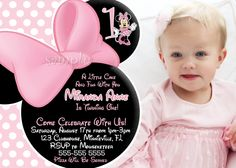 HUGE SELECTION Minnie Mouse Invitation, Light Pink Minnie Mouse Birthday Invitation, Minnie Birthday Party Invitation. $10.00, via Etsy.