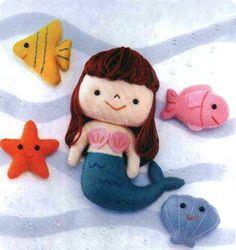 Sereia de feltro #sew #dolls #patterns