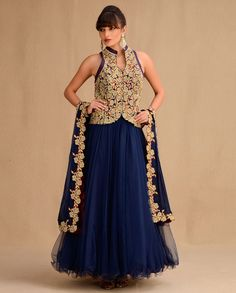 Midnight Blue Anarkali Suit with Embroidered Jacket - By Expressionist by Jaspreet | Exclusively.in