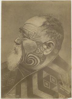 Profile head and shoulders portrait of Ngati Whatua leader Paora Tuhaere, taken circa 1880-1892 by Frederick Pulman. Shows moko.