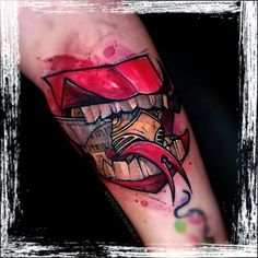 Russell Van Schaick Tattoos — What would a Howler yell at you if you got one? .... Disney Watercolor Tattoo, Watercolor Tattoo Artists, Howler Harry Potter, Large Canvas Prints, Tattoo Spirit, World Of Gumball, I Give Up, Disney Tattoos, Cool Cartoons