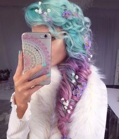 Gorgeous pastel teal to fuchsia/pinky-purple hair color. Love the braid & the tiny flowers Dye My Hair, New Hair, Hair Color Purple, Pastel Purple, Hair Colours, Blue Hair, Pink Hair, Pastel Colors, Teal