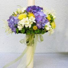 yau concept _ YaU flori+lumanare cu nasturi Christening, Floral Wreath, Concept, Wreaths, Candles, Flowers, Wedding, Design, Home Decor