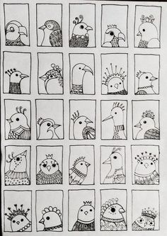 Bird 218 - fifth and final row of tiny doodle birds added . by jg.make a sheet of your own doodle birds!fun page for art journal! Bird Drawings, Doodle Drawings, Doodle Art, Bird Doodle, Doodle Inspiration, Doodles Zentangles, Doodle Patterns, Elementary Art, Fun 2 Draw