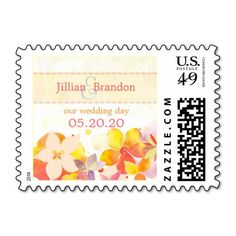 """Tropical Garden Breeze #Wedding Save the Date Stamps (1.8""""x1.3""""). #savethedate #watercolor #flowers #unique #chic #postage #custom"""