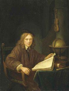 Mogelijk atelier van Gerard Dou: Jonge man gezeten aan een tafel met boeken en een globe. 1650-1699. Particulier bezit. Voorheen toegeschreven aan Domenicus van Tol.