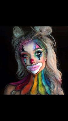 Rainbow Killer Clown Makeup Halloween clown in 2019 Halloween halloween makeup killer clown - Halloween Makeup Makeup Clown, Costume Makeup, Party Makeup, Clown Hair, Circus Makeup, Fun Makeup, Awesome Makeup, Halloween Inspo, Halloween Makeup Looks