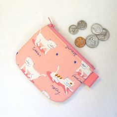Cute Kitty Cats Mini Coin Purse Fabric Change Purse Little Zipper Coin Purse Aneela Hooey Hello Petal White Kittens Pink Handmade (7.50 USD) by Heart2Handbags