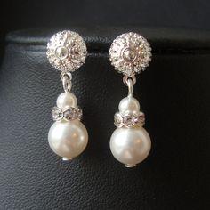 Pearl and Rhinestone Dangle Bridal Earrings, Modern Vintage Pearl Wedding Bridal Earrings, Ivory White Pearl Bridesmaid Earrings, Kate. $16.00, via Etsy.