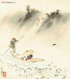 MARZOAl centro della scena un traghettatore trasporta, su un battello watashibune (渡し船), un bimbo in compagnia della mamma che si ripara da una fitta e sottile pioggia primaverile sotto un grande cappello di paglia.  Ogawa Usen (1868 - 1938) è stato membro della Japan Art Academy