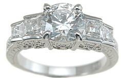 2.75ct 925 Sterling Silver Antique Princess Engagement Band CZ FD-0416