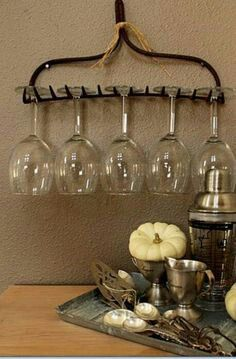 Wine glass storage for landscaper