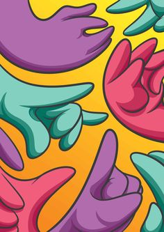 all these wavy hands drawn in photoshop.. available as an a2 print from our store! chumdesigns.com