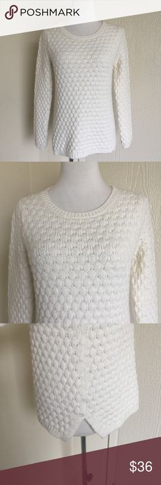 "Field Flower white cable knit sweater Long sleeves. White cable knit. Wool mohair blend. Vents on each hip. 55% Acrylic 23% wool 15% Nylon 7% mohair. Bust 34"". Length 22"" Anthropologie Sweaters Crew & Scoop Necks"