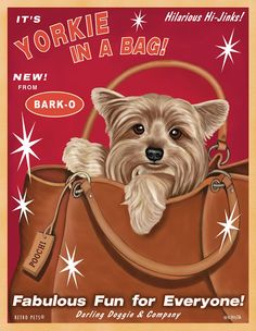 Yorkie Art - Yorkie In A Bag - Fabulous Fun for Everyone -  8x10 art print by Krista Brooks on Etsy, $20.00