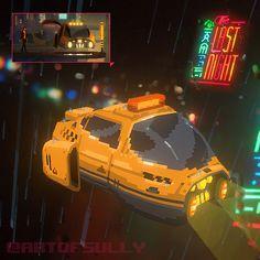 ArtStation - Cyberpunk Taxi ('The Last Night' Art Test), Brendan Sullivan Pixel Art, 3d Pixel, Game Design, Art Test, New Retro Wave, 8 Bits, 8bit Art, Pixel Animation, Isometric Art