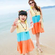 Yuehai Yue Mei parent-child suit set a family of three home-loaded women's wear beach skirt Korean version of the holiday dress summer Mother Daughter Dresses Matching, Family Of Three, Kids Suits, Beach Skirt, Dress Summer, Holiday Dresses, Matching Outfits, Kids And Parenting, Women Wear