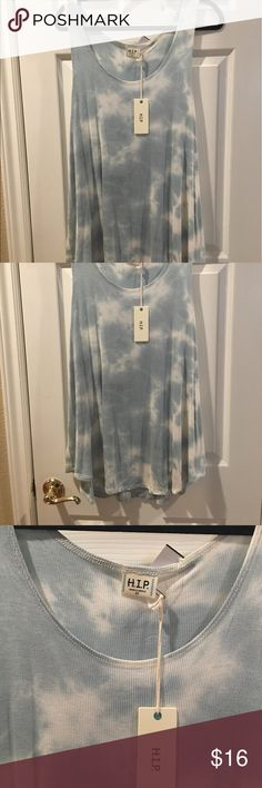 "HIP Plus Size 3X tank top shirt NWT HIP brand women's plus size 3X tank top. Color is called mint but it's a light bluish green and white. Measures 24"" arm pit to arm pit and 32"" shoulder to shortest hem, 34"" to longest part of hem. Mid section 26 1/2"" across lying flat. Bottom about 31"" across. Soft moveable fabric that is 96 percent rayon, 4 percent spandex. Top does have a lot of stretch. HIP Tops Tank Tops"