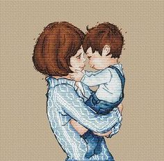 Mom and son Cross Stitch Pattern Baby cross stitch Woman with