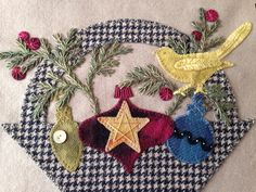 """""""Glad Tidings"""" Basket 1 close up from Pretty Penny Precuts Wool Applique Quilts, Wool Applique Patterns, Wool Quilts, Felt Patterns, Embroidery Applique, Felted Wool Crafts, Felt Crafts, Basket Quilt, Wool Art"""