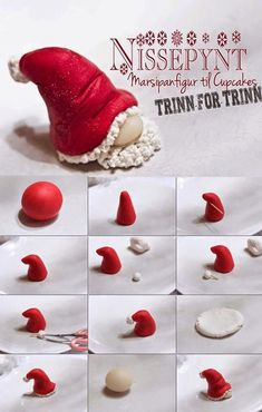épinglé par ❃❀CM❁✿Fondant Tutorial by Nissepynt - Santa Hat Gnome - pere noel fimo Polymer Clay Ornaments, Polymer Clay Canes, Fimo Clay, Polymer Clay Projects, Polymer Clay Creations, Clay Crafts, Polymer Clay Christmas, Fondant Tutorial, Fondant Bow