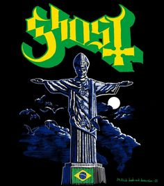 Ghost tour shirt design, Brazil 2013. (c) all rights reserved. Concept by Ghost, artwork by M.Frisk.