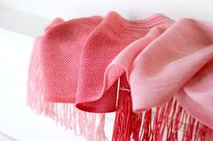 Hand woven scarf gradient color red pink long scarf with fringe Valentines day gift