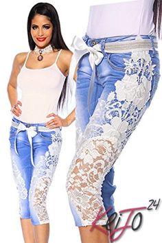 896efe6ad5aa85 Atixo Capri-Jeans mit Spitze - blau creme  - Jeanshose frauen jeanshosen  damen