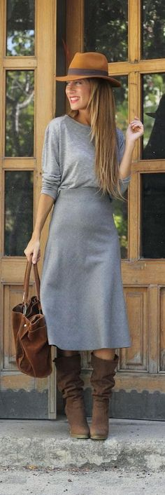 simple yet stunning autumn stylingrey wool midi skirt...autumn/winter styles