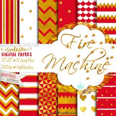 Gold Texture Digital Scrapbook Paper: Red Printable Paper | Fire Engine | red and gold, digital christmas, textured paper, gold foil paper by SunlikeStar on Etsy #scrapbooking #digitalpaper #gold