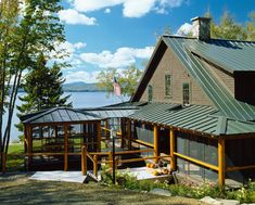 Green Metal Roof With Deep Weathered Wood Grey Color Houses House
