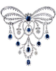 A Belle Epoque Garland Style Stomacher by Chaumet, c.1906, France. Platinum, Diamonds, Sapphires. #Antique #Chaumet