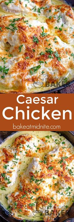This Caesar chicken is one of the most delicious and easy dinners you'll ever make! This Caesar chicken is one of the most delicious and easy dinners you'll ever make! Turkey Recipes, Dinner Recipes, Sour Cream Recipes Dinner, Dinner Entrees, Cocktail Recipes, Appetizer Recipes, Comida India, Easy Dinners, Easy Dinner Meals Healthy